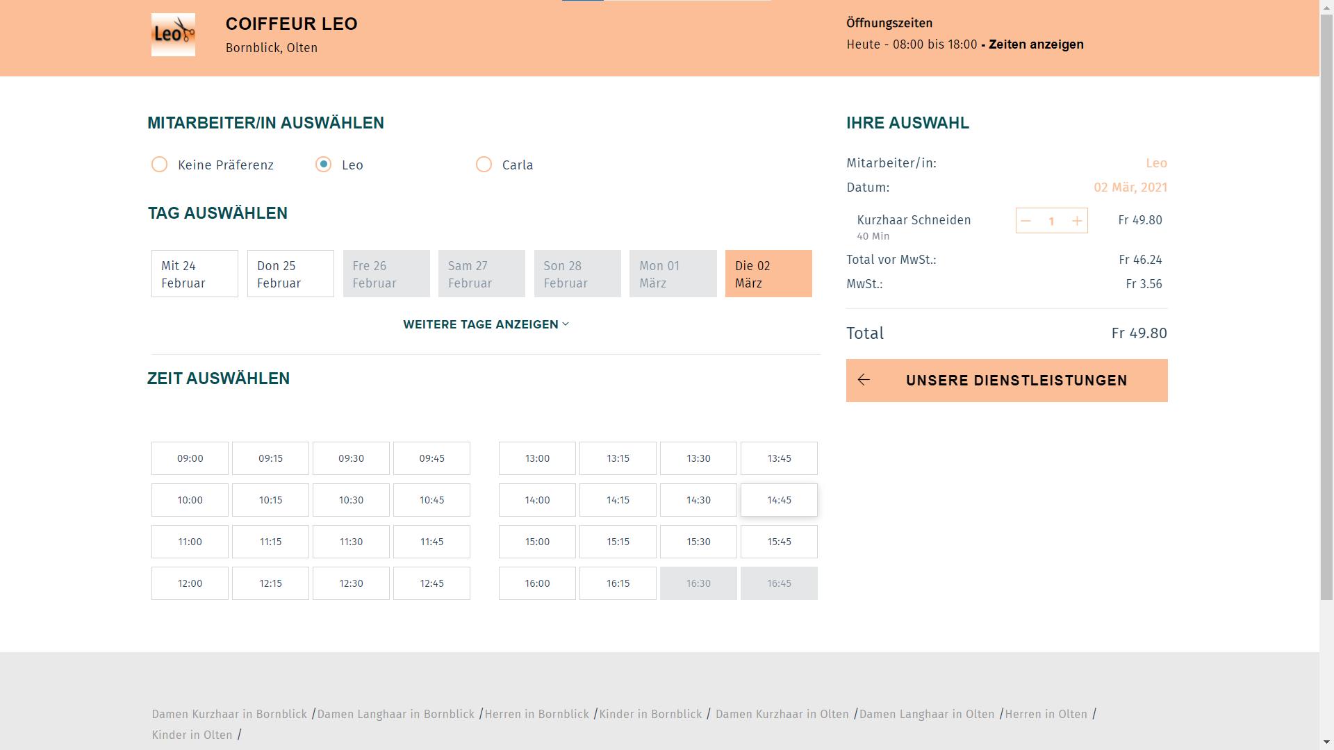 Online Buchung für Kunden